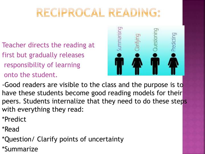 Teacher directs the reading at