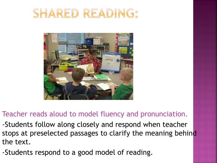Teacher reads aloud to model fluency and pronunciation.