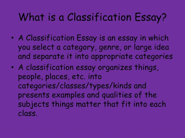 what is a classification essay
