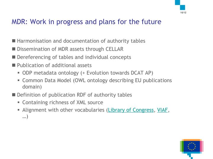 MDR: Work in progress and plans for the future