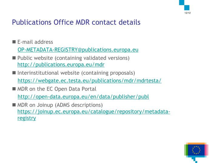 Publications Office MDR contact details