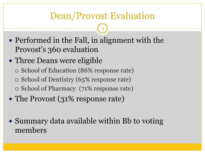 Dean provost evaluation