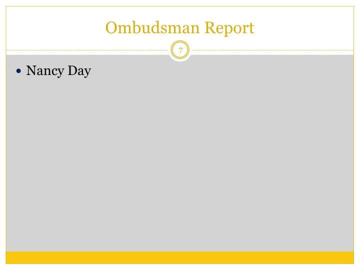 Ombudsman Report
