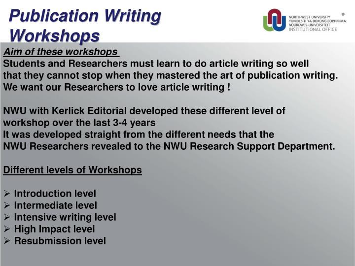 Publication Writing Workshops