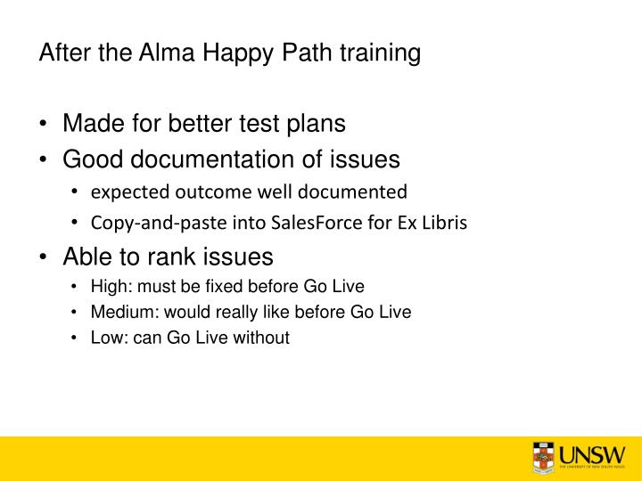 After the Alma Happy Path training