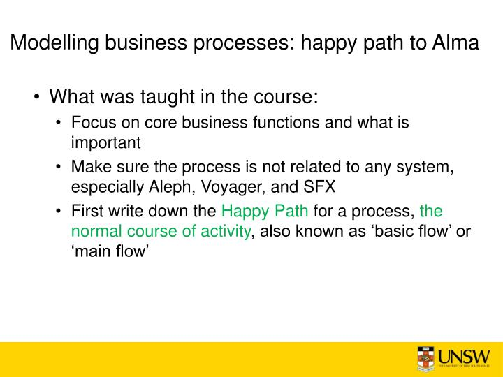 Modelling business processes: happy path to Alma