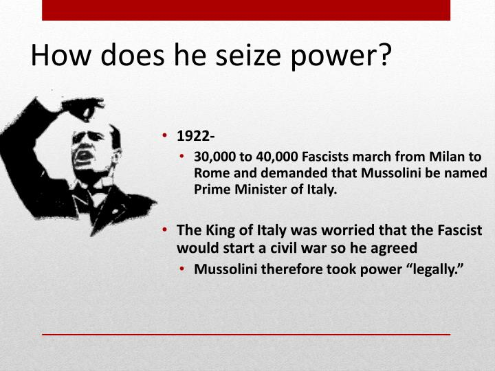 How does he seize power?