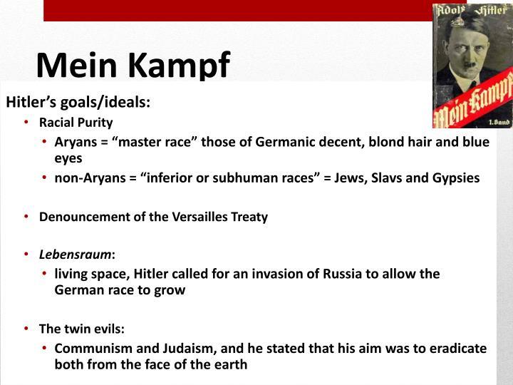 Hitler's goals/ideals:
