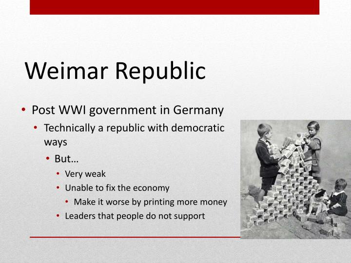 Post WWI government in Germany