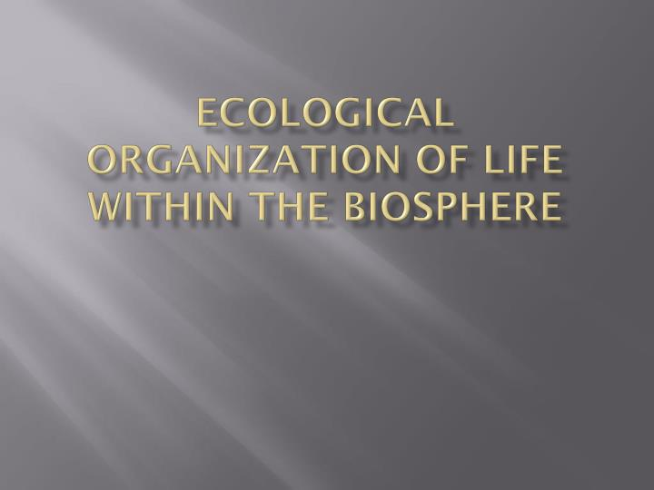 ecological organization of life within the biosphere n.