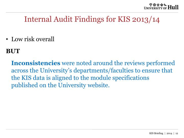 Internal Audit Findings for KIS 2013/14