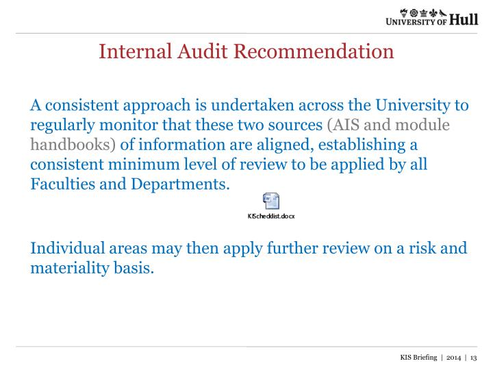 Internal Audit Recommendation