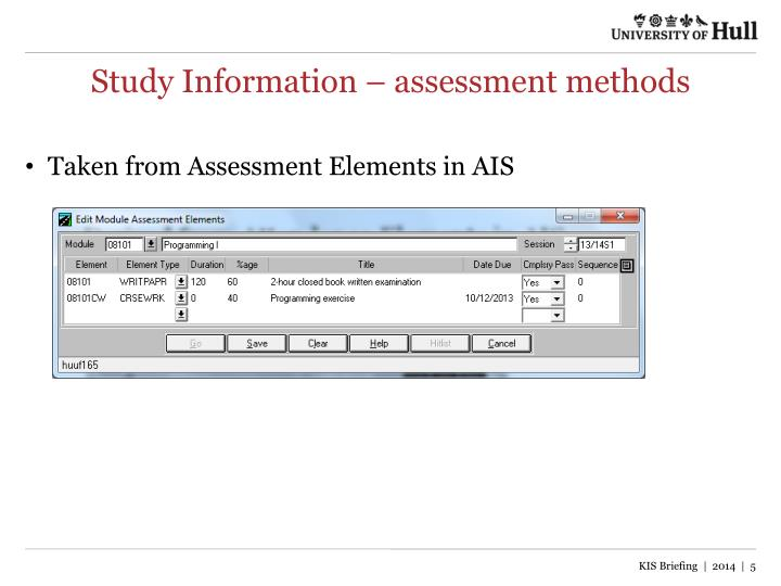 Study Information – assessment methods