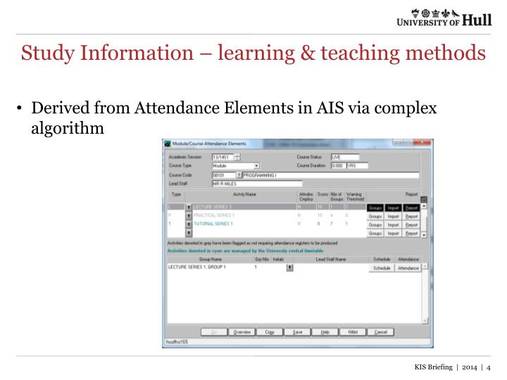 Study Information – learning & teaching methods