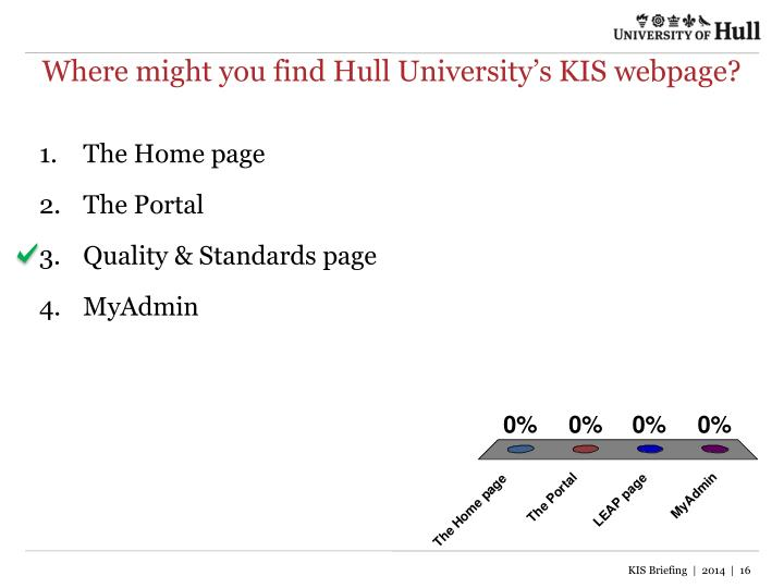 Where might you find Hull University's KIS webpage?