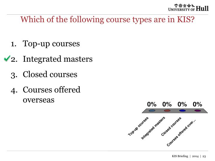 Which of the following course types are in KIS?