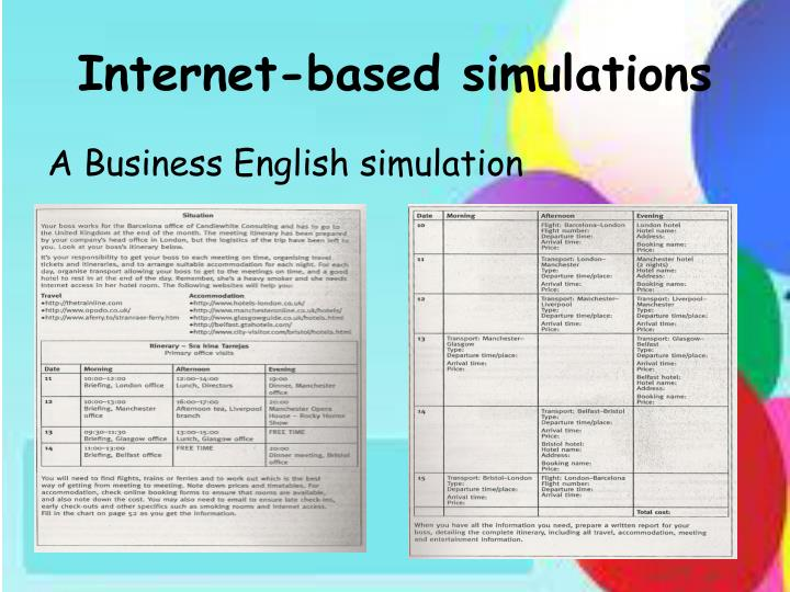 Internet based simulations