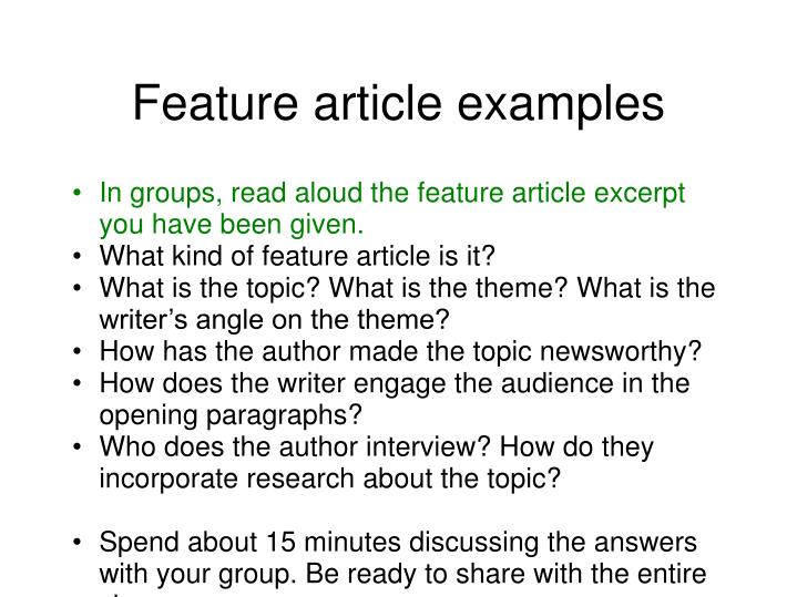 how to do a feature article