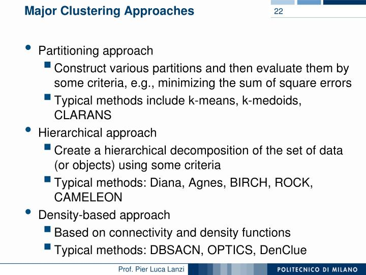 Major Clustering Approaches