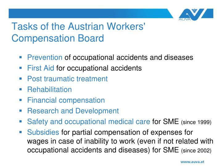 Tasks of the Austrian Workers' Compensation Board