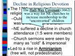 decline in religious devotion