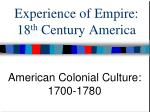 experience of empire 18 th century america