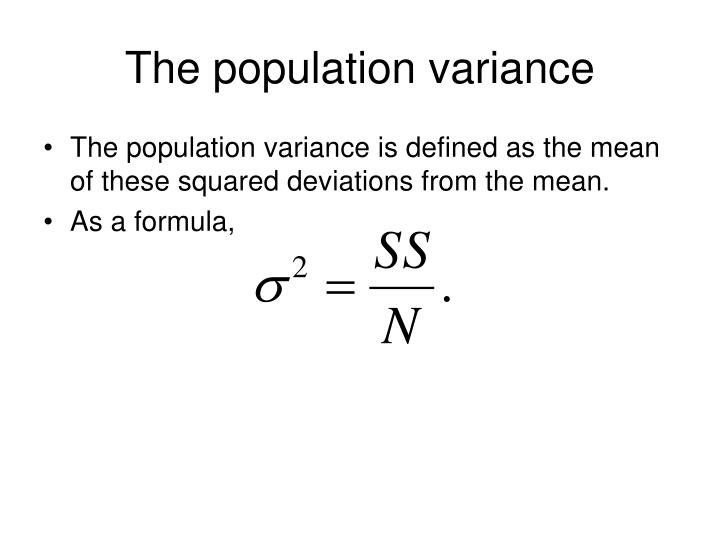 The population variance