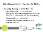 data management priorities for ngbs1