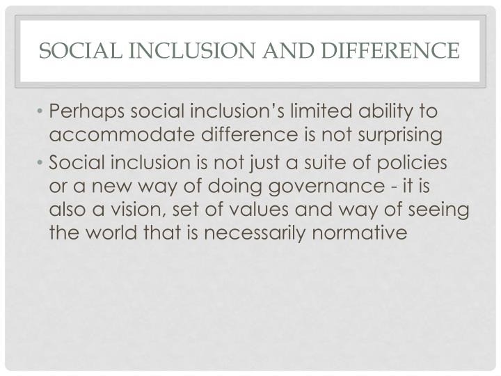 Social inclusion and difference