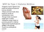 mnt for type 1 diabetes mellitus