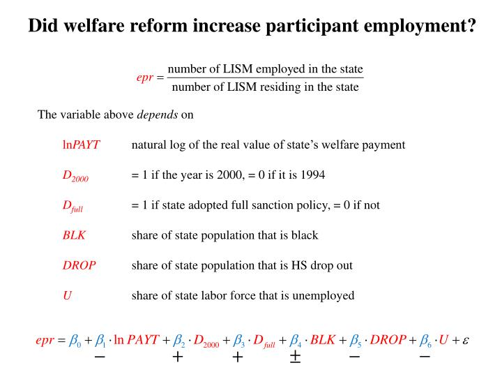 Did welfare reform increase participant employment?