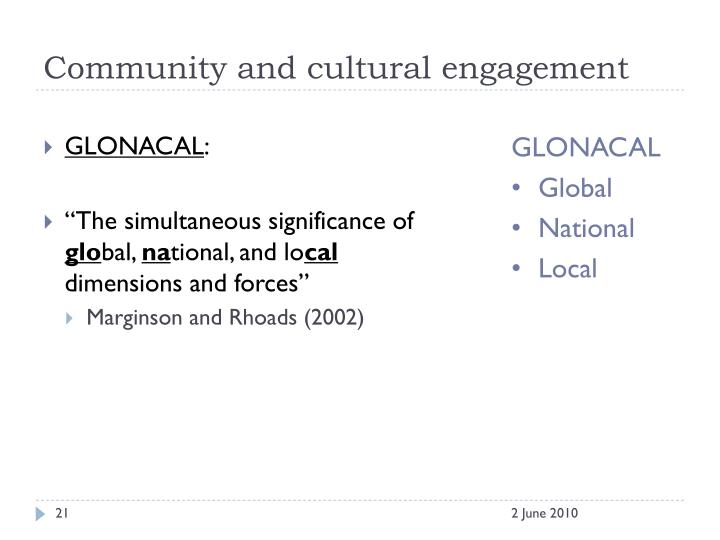 Community and cultural engagement