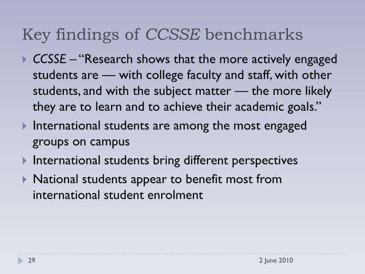 Key findings of