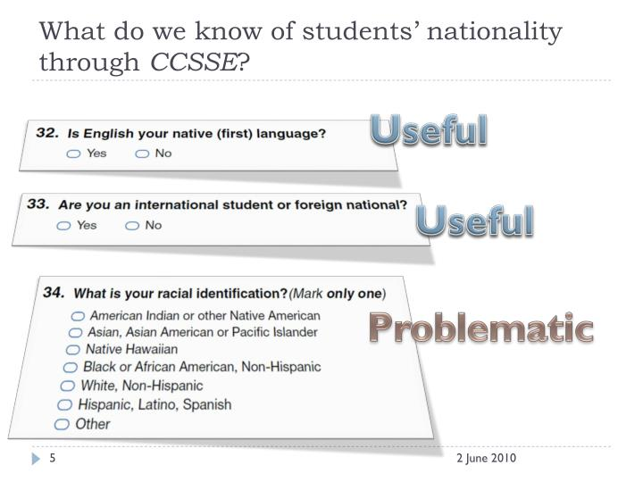 What do we know of students' nationality through