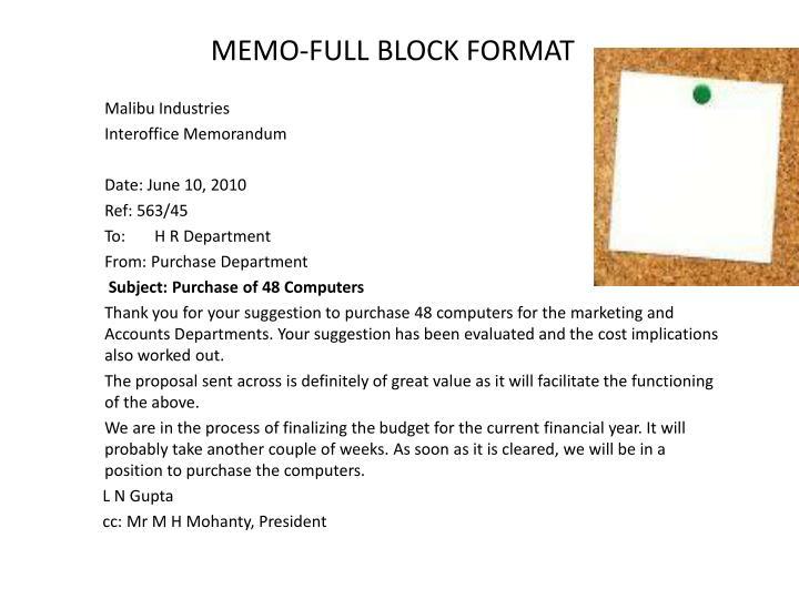 MEMO FULL BLOCK FORMAT
