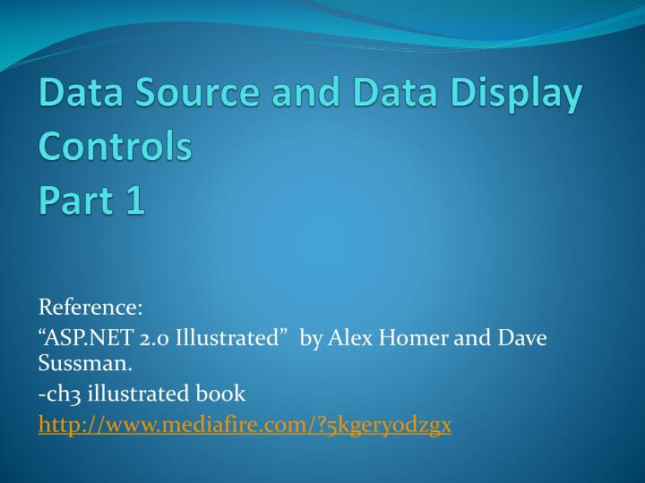Data source and data display controls part 1