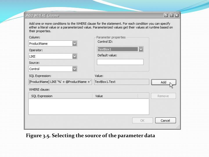 Figure 3.5. Selecting the source of the parameter data