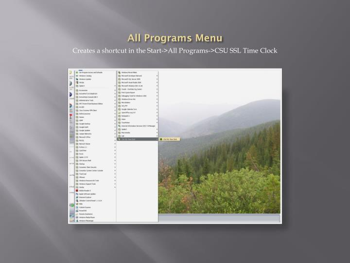 All Programs Menu