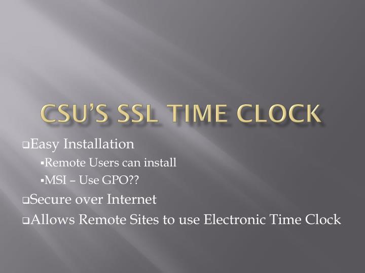 CSU's SSL Time Clock