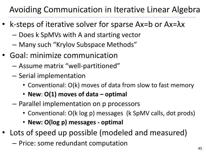 Avoiding Communication in Iterative Linear Algebra