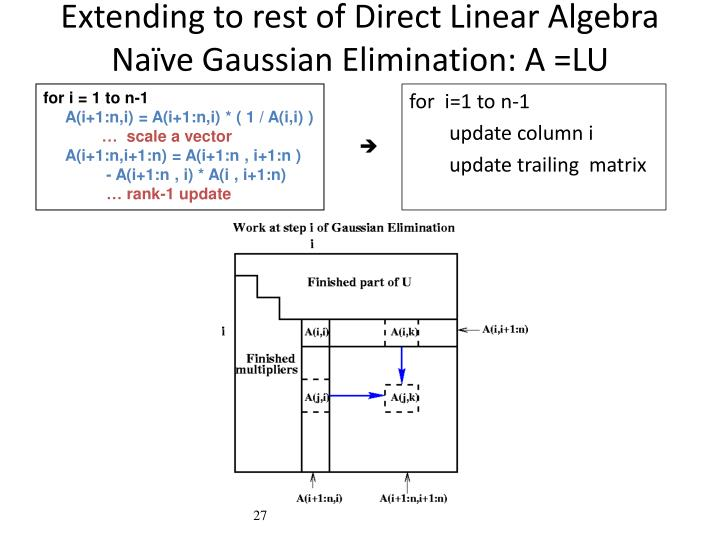 Extending to rest of Direct Linear Algebra