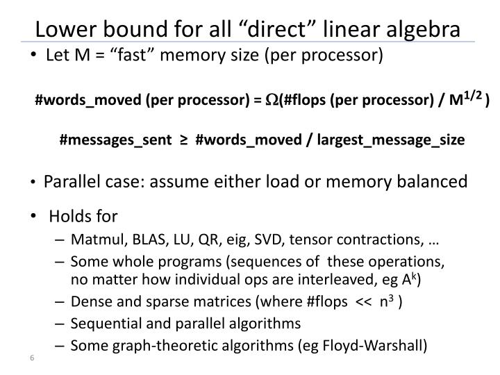 """Lower bound for all """"direct"""" linear algebra"""
