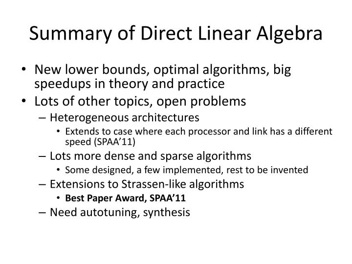 Summary of Direct Linear Algebra