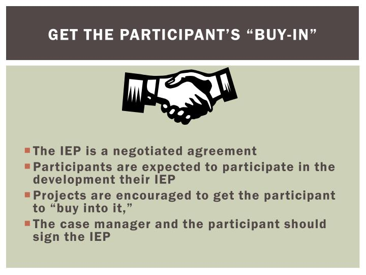 """Get the Participant's """"Buy-In"""""""