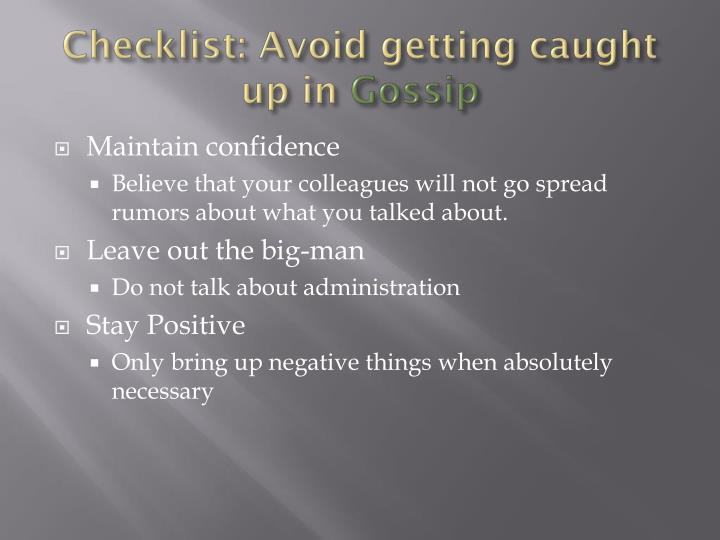 Checklist: Avoid getting caught up in