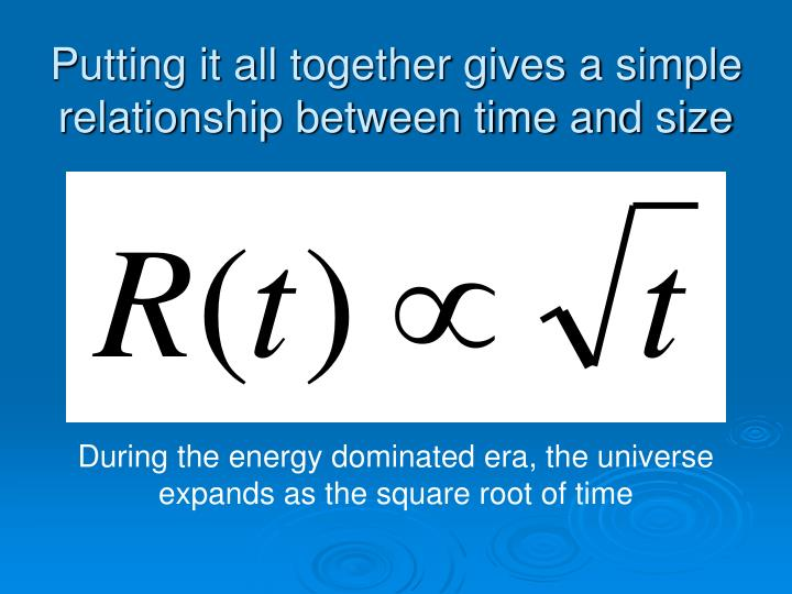 Putting it all together gives a simple relationship between time and size