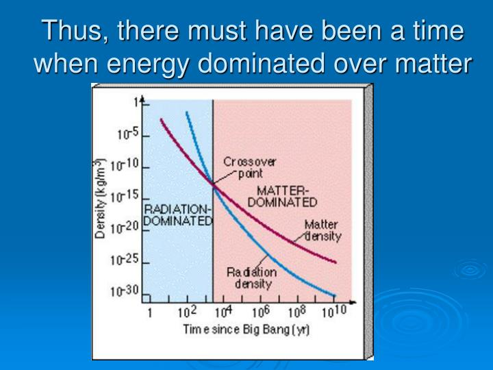 Thus, there must have been a time when energy dominated over matter
