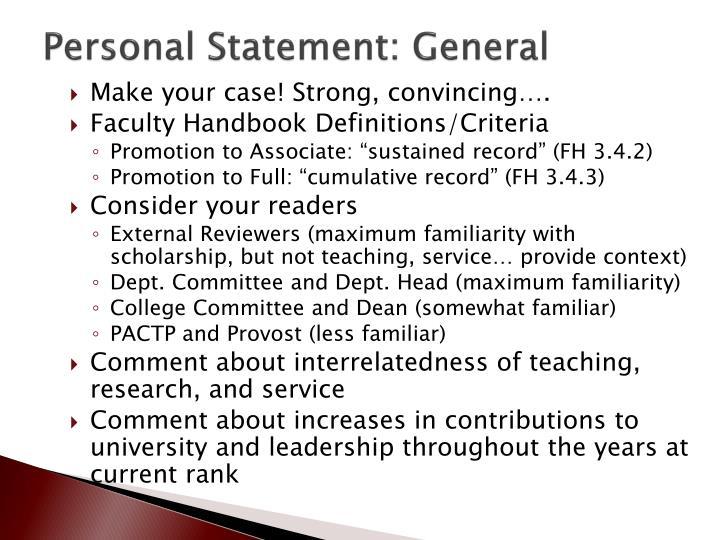 Personal Statement: General