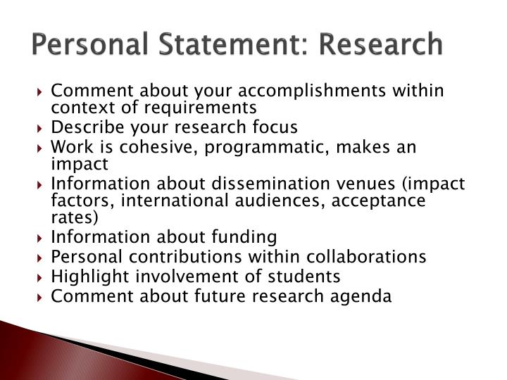 Personal Statement: Research