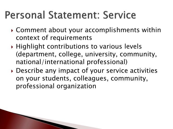 Personal Statement: Service